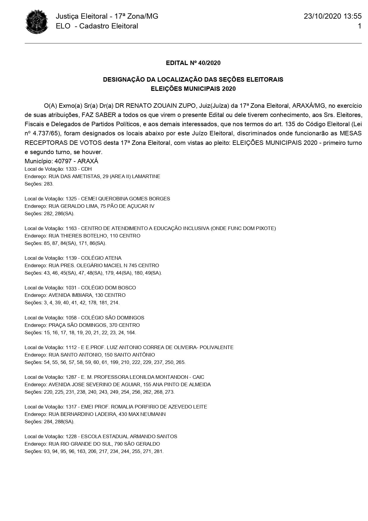 ELEIÇÕES 2020: Confira os locais de votação em Araxá 1