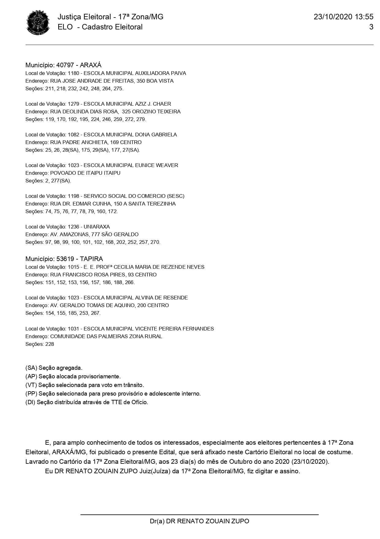 ELEIÇÕES 2020: Confira os locais de votação em Araxá 3